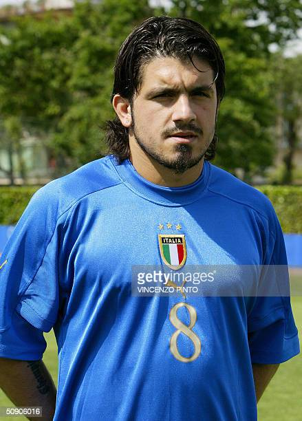 Italy's national soccer team midfielder Gennaro Gattuso poses at the Coverciano training camp near Florence 27 May 2004 two weeks before the start of...