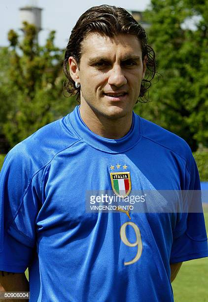 Italy's national soccer team striker Christian Vieri poses at the Coverciano training camp near Florence 27 May 2004 two weeks before the start of...