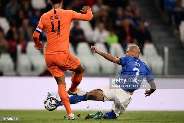 Italy's national team forward Simone Zaza scores a goal during the international friendly football match between Italy and the Netherlands at the...