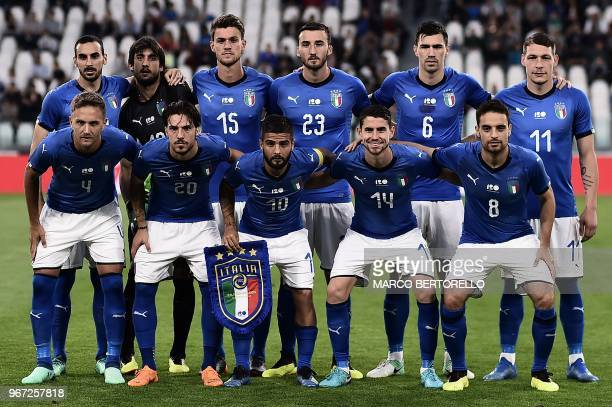 Italy's national team players defender Domenico Criscito midfielder Simone Verdi forward Lorenzo Insigne midfielder Jorginho midfielder Giacomo...