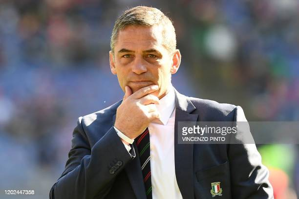 Italy's new head coach South Africa's Franco Smith attends the Six Nations international rugby union match between Italy and Scotland at the Olympic...