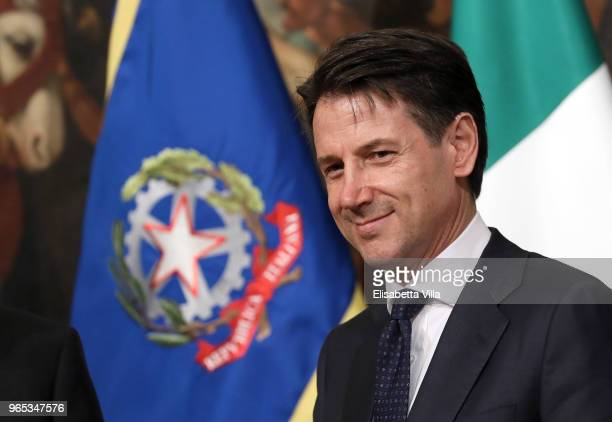 Italy's new Prime Minister Giuseppe Conte arrives at Palazzo Chigi to open his first cabinet meeting on June 1, 2018 in Rome, Italy. Law professor...