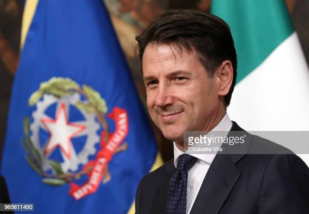 Italy's new Prime Minister Giuseppe Conte arrives at Palazzo Chigi to open his first cabinet meeting on June 1 2018 in Rome Italy Law professor...