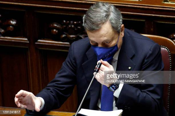 Italy's new Prime Minister Mario Draghi addresses deputies before submitting his government to a vote of confidence, in the Italian Parliament in...