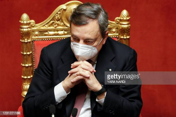 Italy's new Prime Minister Mario Draghi attends a debate at the Senate on February 17, 2021 in Rome, before submitting his government to a vote of...