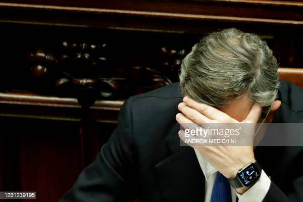 Italy's new Prime Minister Mario Draghi attends a lower Chamber session in the Italian Parliament on February 18, 2021 in Rome, before submitting his...