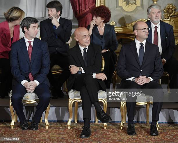 Italy's newly appointed Interior Minister Marco Minniti Foreign Affairs Minister Angelino Alfano and Justice Minister Andrea Orlando attend the...