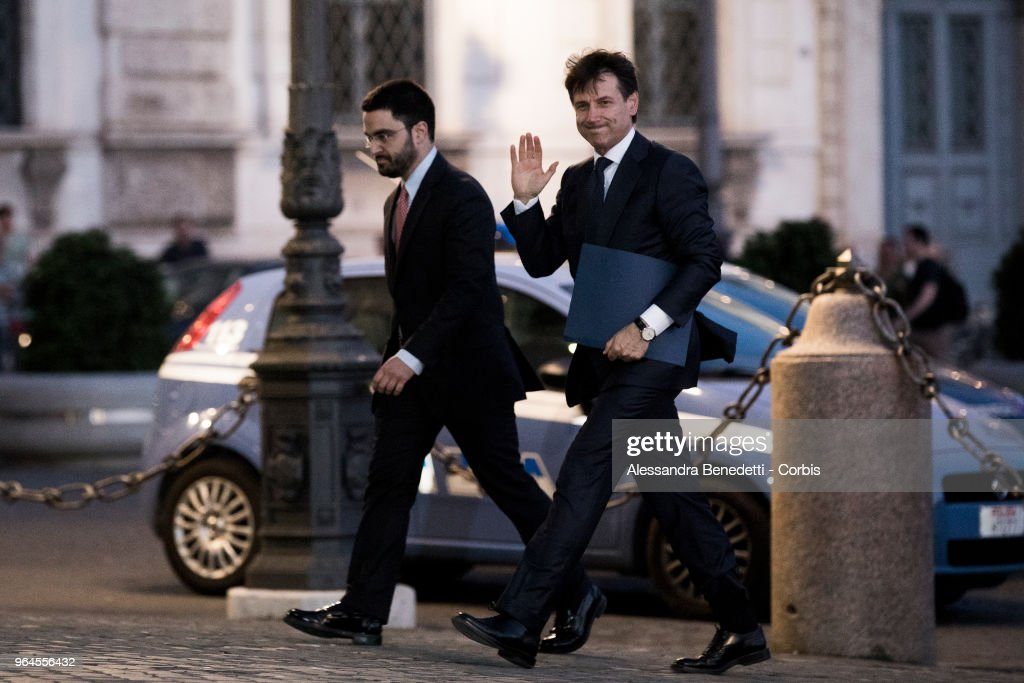 Italy's newly appointed Prime Minister Giuseppe Conte enters the Quirinale Presidential Palace to receive the mandate to form a new government on May 31, 2018 in Rome, Italy.