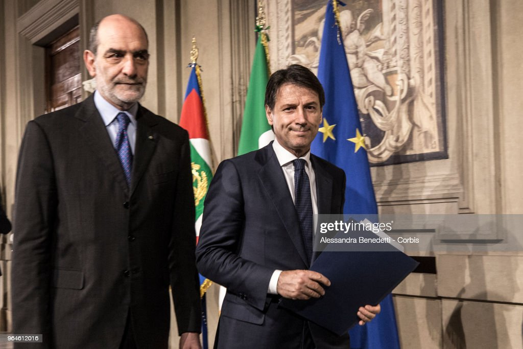 Italy's newly appointed Prime Minister Giuseppe Conte talks to journalists after having received the mandate to form a new government, on May 31, 2018 in Rome, Italy.