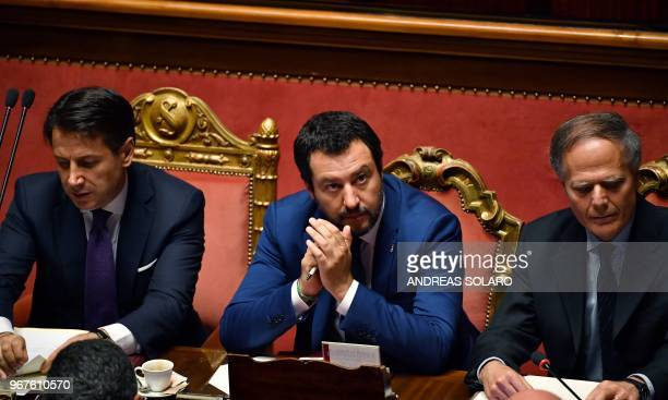 Italy's newly sworn-in Prime Minister Giuseppe Conte , Italys Interior Minister and Deputy Prime Minister Matteo Salvini and Italys Foreign Minister...