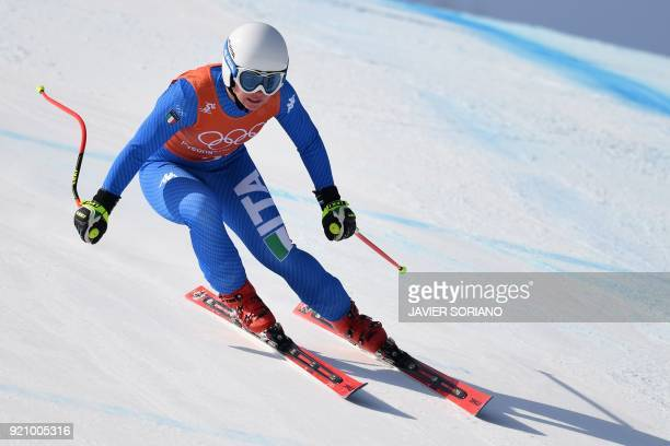 Italy's Nicol Delago takes part in the 3rd training of the Alpine Skiing Women's Downhill at the Jeongseon Alpine Center during the Pyeongchang 2018...