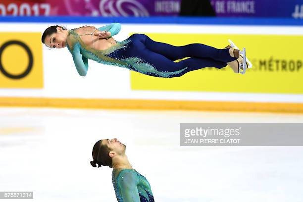 TOPSHOT Italy's Nicole Della Monica and Matteo Guarise compete in the Pair Free Skating during the Internationaux de France ISU Grand Prix of Figure...