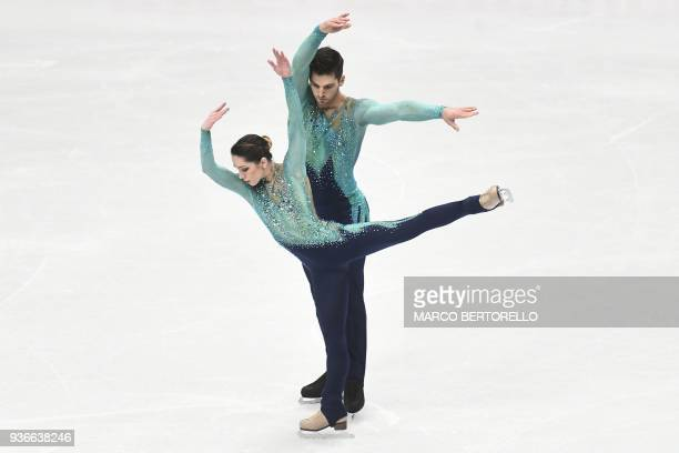 Italy's Nicole Della Monica and Matteo Guarise perform on March 22 2018 during the Pairs Free figure skating at the Milano World League Figure...