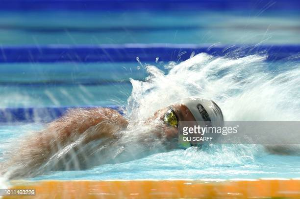 TOPSHOT Italy's Paltrinieri Gregorio competes in the Men's 1500m freestyle swimming final at the Tollcross swimming centre during the 2018 European...