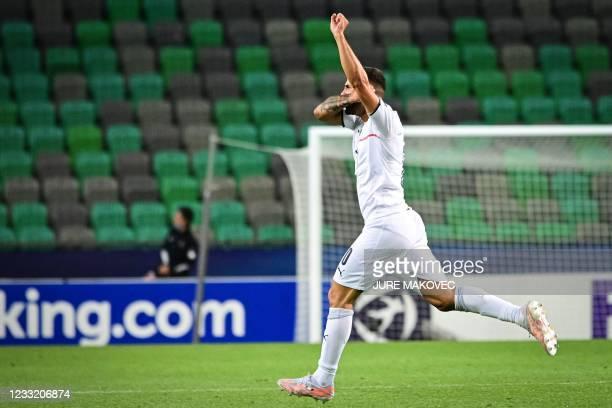 Italys Patrick Cutrone celebrates after scoring a goal during the 2021 UEFA European Under-21 Championship quarter-final football match between...