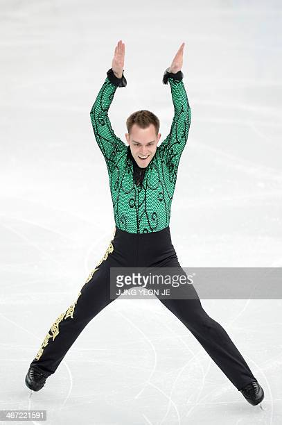 Italy's Paul Bonifacio Parkinson performs during the Men's Figure Skating Team Short Program at the Iceberg Skating Palace during the Sochi Winter...