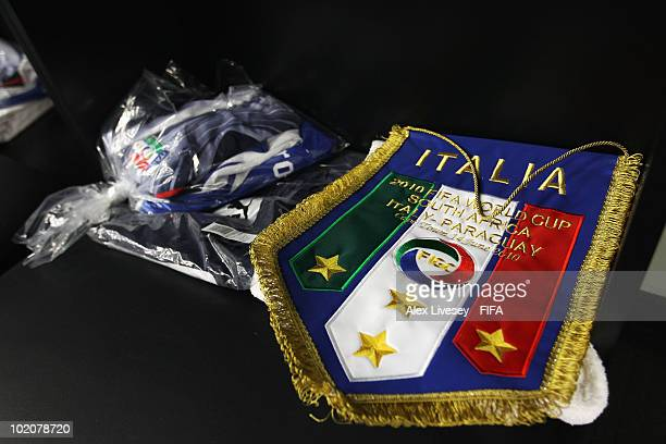Italy's pennant prior to the 2010 FIFA World Cup South Africa Group F match between Italy and Paraguay at Green Point Stadium on June 14 2010 in Cape...