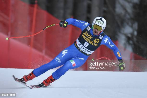 Italy's Peter Fill competes in the FIS Alpine World Cup Men Downhill on December 16 2017 in Val Gardena Groeden Italian Alps / AFP PHOTO / Tiziana...