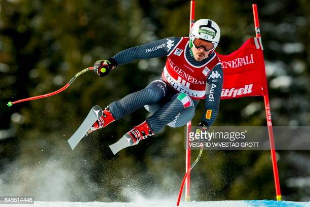 Italy's Peter Fill competes to win the FIS World Cup Alpine Skiing Mens Super G event in Kvitfjell, Norway, February 26, 2017. / AFP PHOTO / NTB...