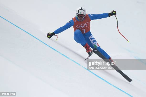 TOPSHOT Italy's Peter Fill takes part in the Men's Downhill 3rd training at the Jeongseon Alpine Center during the Pyeongchang 2018 Winter Olympic...
