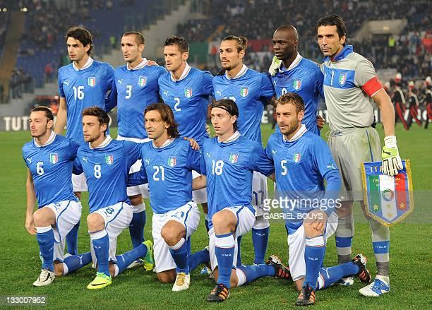 Italy's players Andrea Ranocchia Giorgio Chiellini Christian MaggioPablo Osvaldo Mario Balotelli Gianluigi Buffon and Federico Balzaretti Claudio...