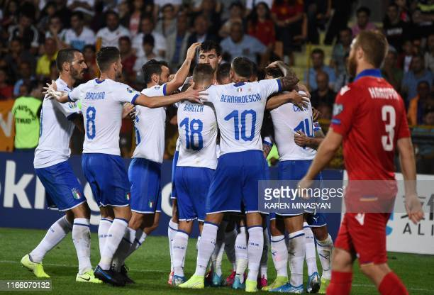 Italy's players celebrate after scoring a goal during the Euro 2020 Group J football qualification match between Armenia and Italy at the Vazgen...
