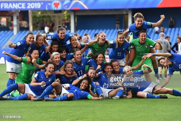 Italy's players celebrate at the end of the France 2019 Women's World Cup round of sixteen football match between Italy and China, on June 25 at La...
