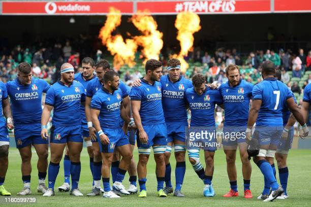 Italy's players celebrate during the 2019 Rugby World Cup warmup rugby union match between Ireland and Italy at the Aviva Stadium in Dublin on August...