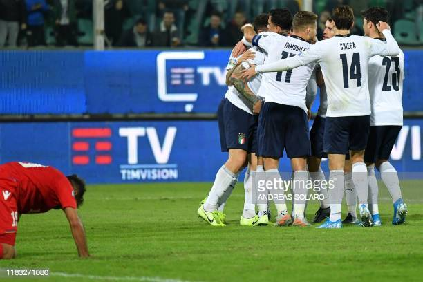Italy's players celebrate their 6th goal during the Euro 2020 1st round Group J qualifying football match Italy v Armenia on November 18 2019 at the...