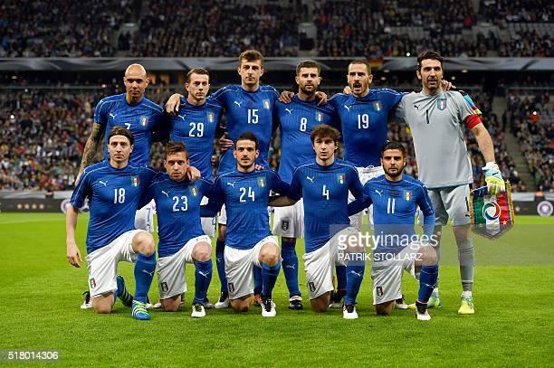 Italy´s players forward Simone Zaza defender Federico Bernarderschi defender Francesco Acerbi defender Thiago Motta defender Leonardo Bonucci and...
