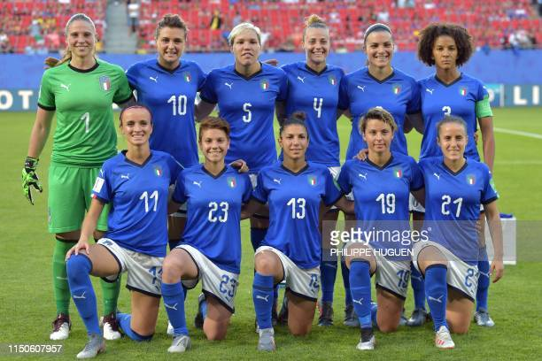 Italy's players pose ahead of the France 2019 Women's World Cup Group C football match between Italy and Brazil, on June 18 at the Hainaut Stadium in...