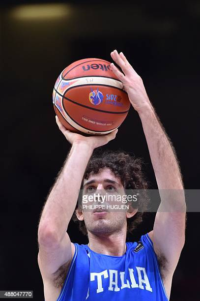 Italy's point guard Amedeo Della Valle shoots a penalty during the round of 16 basketball match between Israel and Italy at the EuroBasket 2015 in...