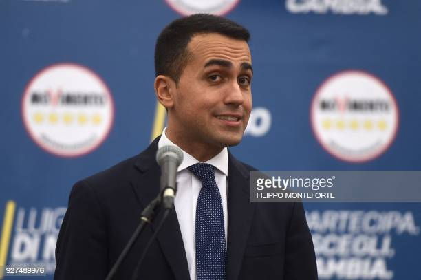 Italy's populist Five Star Movement party leader Luigi Di Maio addresses journalist a day after Italy's general elections on March 5 2018 in Rome The...