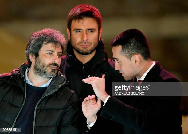 Italy's populist Five Star Movement party leader Luigi Di Maio and M5S members Roberto Fico and Alessandro Di Battista after the last election...