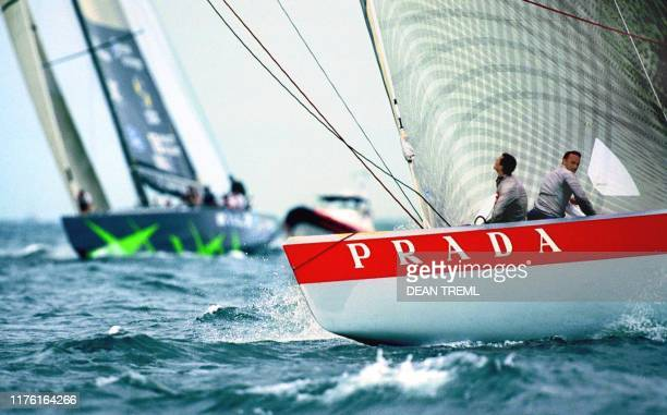 "Italy's Prada Challenge yacht ""Luna Rossa"" leads the US yacht ""AmericaOne"" during final of race day nine of the Louis Vuitton Cup Finals in Auckland..."