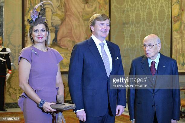Italy's President Giorgio Napolitano welcomes Dutch king WillemAlexander and Queen Maxima before their meeting at the Quirinale Italy's presidential...