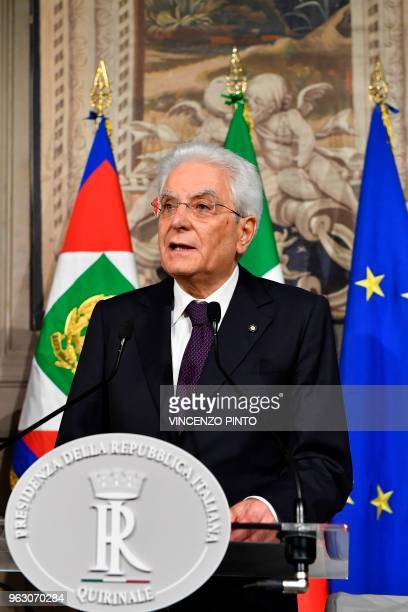 Italy's President Sergio Mattarella addresses journalists after a meeting with Italy's prime ministerial candidate Giuseppe Conte on May 27, 2018 at...