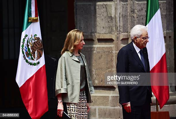 Italy's President Sergio Mattarella and First Lady Laura Mattarella are pictured during the welcoming ceremony offered by Mexico's President Enrique...
