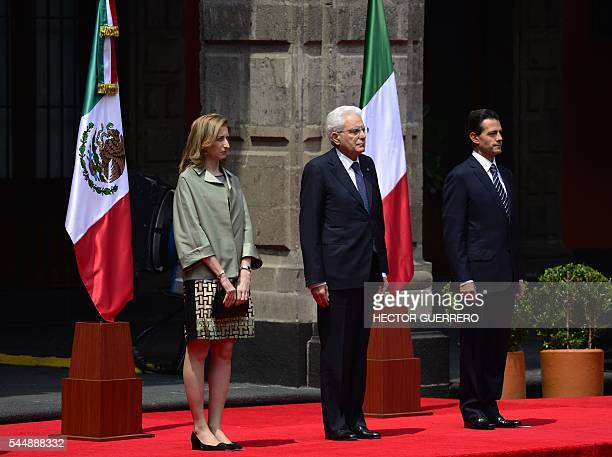 Italy's President Sergio Mattarella and First Lady Laura Mattarella are pictured with Mexico's President Enrique Pena Nieto during a welcoming...