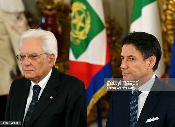 Italy's President Sergio Mattarella and Italy's Prime Minister Giuseppe Conte attend a swearing-in ceremony at the Quirinale presidential palace in...