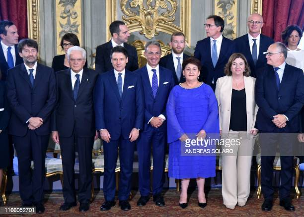 Italy's President Sergio Mattarella and Italy's Prime Minister Giuseppe Conte pose with some of the 21 members of Italy's new Cabinet Italy's Culture...