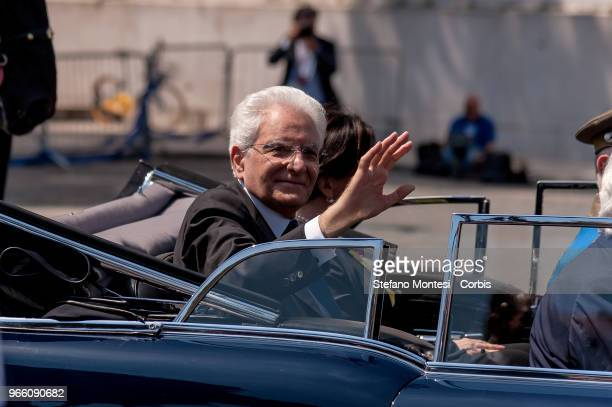 Italy's President Sergio Mattarella at the end of the ceremony greets the people who attended the anniversary of the Italian Republic on June 2, 2018...