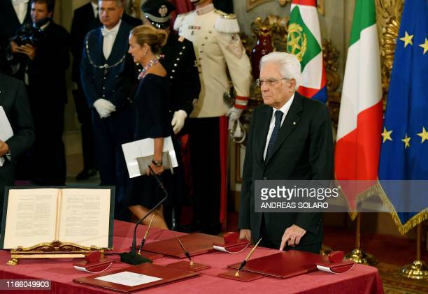 Italy's President Sergio Mattarella attends a swearing-in ceremony at the Quirinale presidential palace in Rome on September 5, 2019. - Prime...