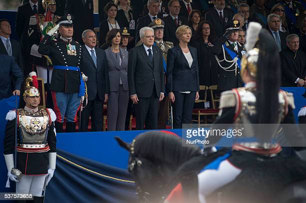 Italy's President Sergio Mattarella during a military parade to mark the 70th anniversary of the Italian Republic on June 2 2016 at Piazza Venezia in...