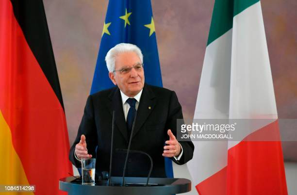 Italy's President Sergio Mattarella gives a press conference with his German counterpart during a visit at the presidential Bellevue Palace in Berlin...