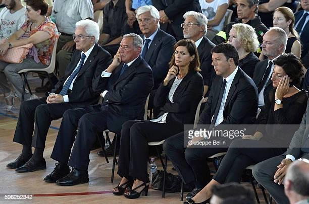 Italy's president Sergio Mattarella Piero Grasso Italy's upper house of Parliament and Laura Boldrini Italy's lower house of Parliament Matteo Renzi...