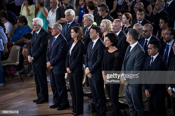 Italy's President Sergio Matterella, Italy's Upper House of Parliament Piero Grasso, Italy's Lower House of Parliament Laura Boldrini, Italy's Prime...