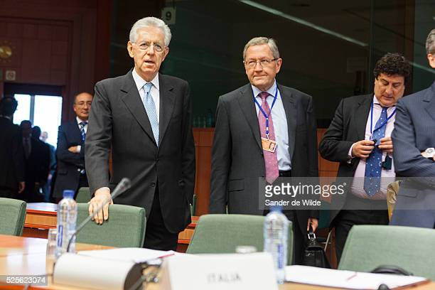 Italy's Prime Minister and Finance Minister Mario Monti attends Ecofin meeting of European ministers of finance in Brussels