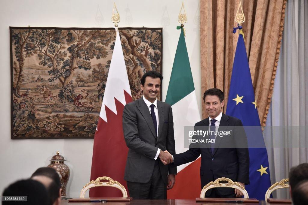 ITALY-QATAR-POLITICS-DIPLOMACY-ECONOMY : News Photo