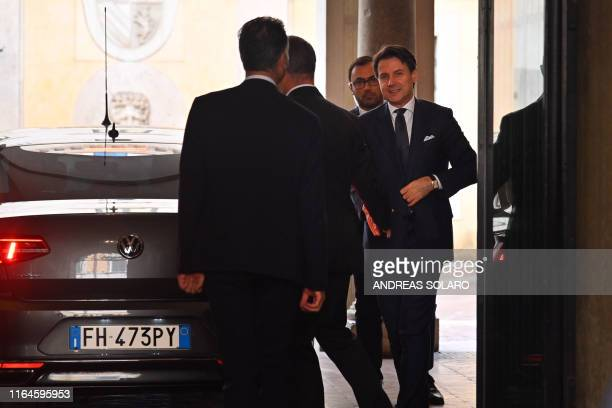 Italys Prime Minister Giuseppe Conte arrives at the Senate after he was given by the Italian president a mandate to form a new government on August...